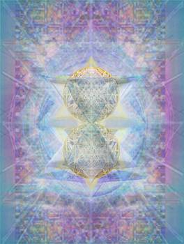 SyntheCentered DoubleStar Chalice in BlueAurayed MultiVortexes on Tapestry Lg by Christopher Pringer