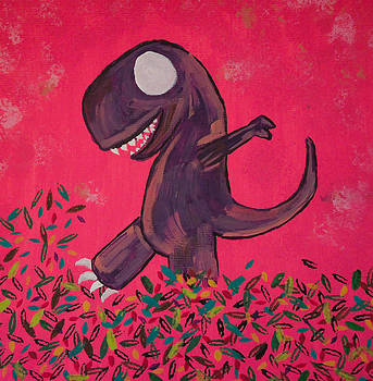 T-Rex plays in the leaves by Jennifer Stone