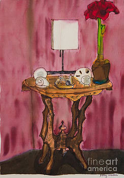 Table with Red Amaryllis by Goodson Kathy