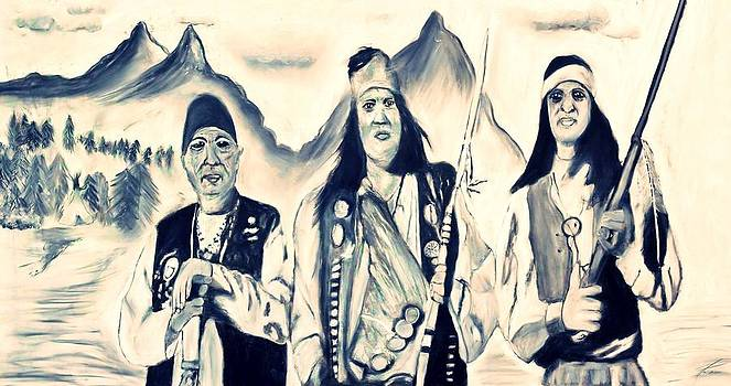 Ayasha Loya - Charcoal Drawing of Apache Dancers by Ayasha Loya