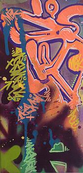Tagged up - orange purp by Miles Wickham