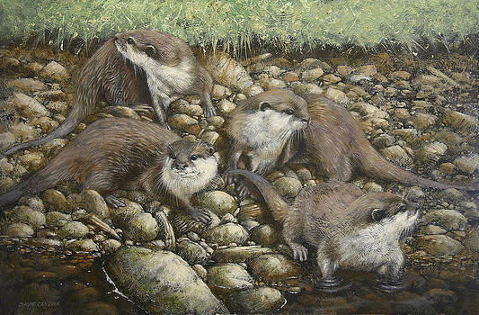 Tails on the river bank by David Lyons