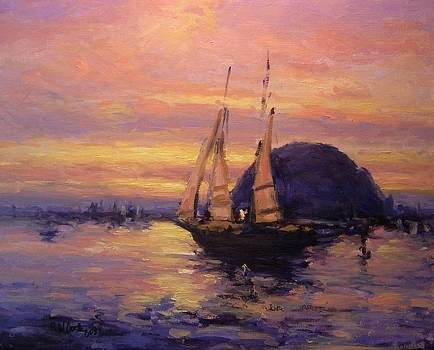 Tall ship in Morro Bay by R W Goetting