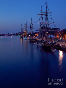 Tall Ships at Night by Christy Woods