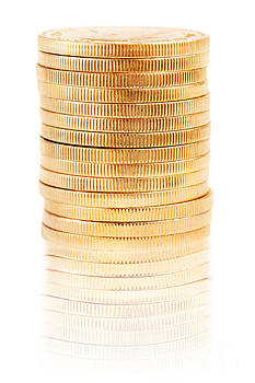 Jo Ann Snover - Tall stack of gold coins