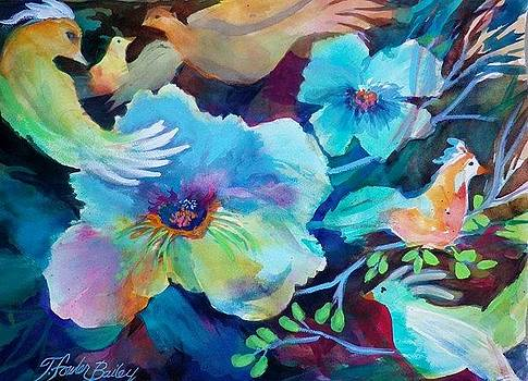 Tangarine Partridge and  Aquas by Therese Fowler-Bailey