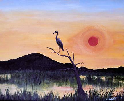 Heron Watching Over the Marsh at Sunset by Amy Scholten