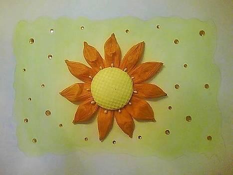 Tangerine Sunflower by Karen Jensen