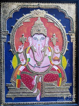 Tanjore Painting -Ganesha by Rekha Artz