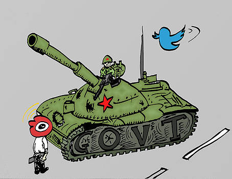 Tank Man caricature of Social Media in China by OptionsClick BlogArt
