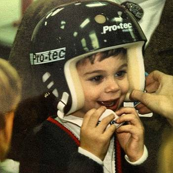 #tbt #firsthockeyhelmet by Ben Tesler