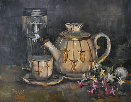 Tea Pot Tea Light and Flowers by Spencer Meagher