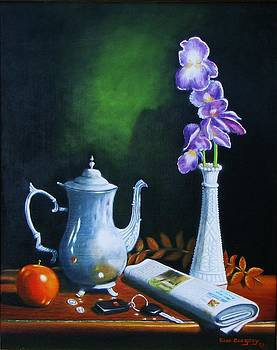 Tea pot with iris by Gene Gregory