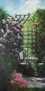 Tea Under the Rose Arbor by Lizzy Forrester