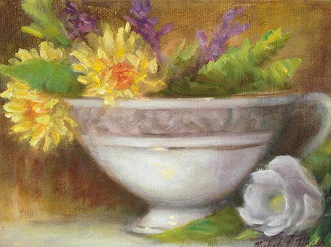 Teacup with Yellow and White Flowers by Michele Tokach