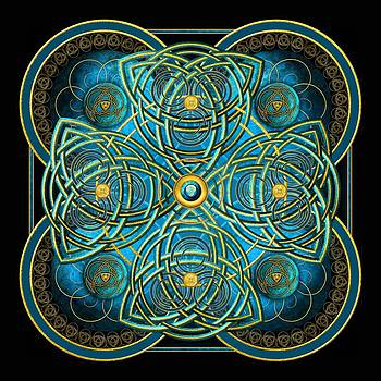 Teal Blue and Gold Celtic Cross by Ricky Barnes