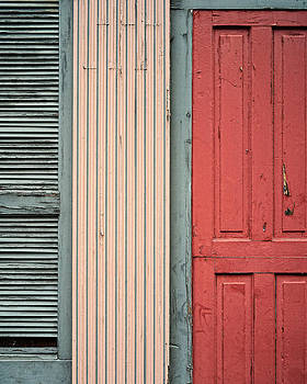 Teal shutters coral door by Dick Wood