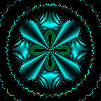 Teal Wheel Mandelbrot by Faye Giblin