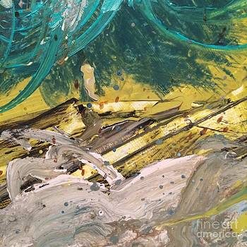 Teal yellow white abstract  by Robin Maria Pedrero