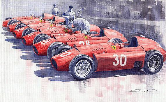 1956 Team Lancia Ferrari D50 type C 1956 Italian GP by Yuriy  Shevchuk