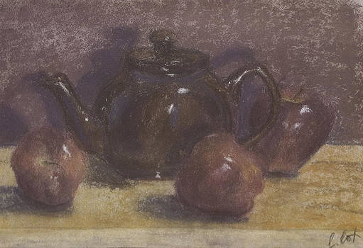 Teapot and Apples by Claudia Cox