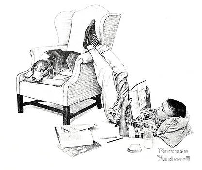 Teenager Studying by Susan Leggett