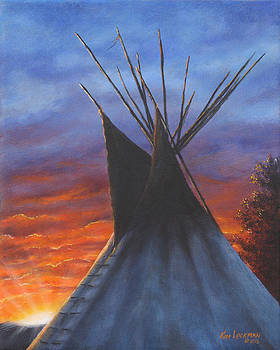 Teepee at Sunset Part 2 by Kim Lockman