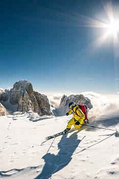 Telemark Skiing In Big Mountains  by Leander Nardin