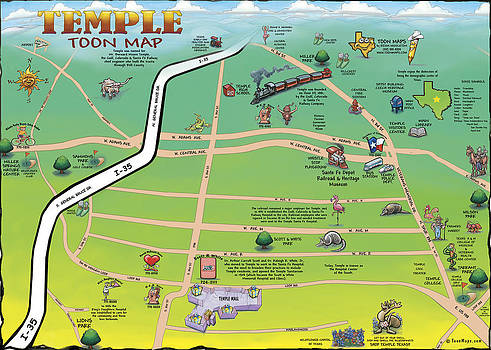 Kevin Middleton - Temple Texas Cartoon Map