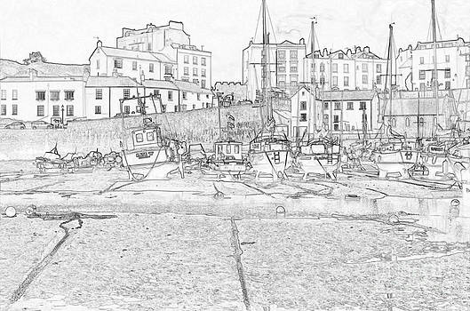 Steve Purnell - Tenby Harbor Pencil Sketch 3