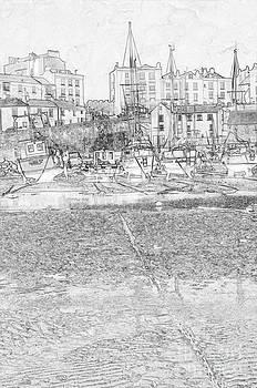 Steve Purnell - Tenby Harbor Pencil Sketch 4