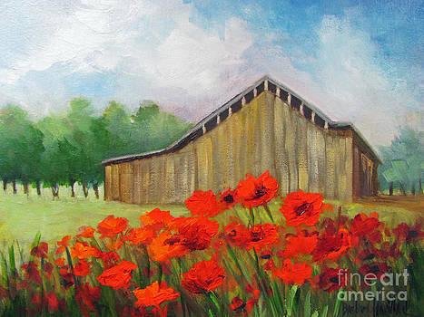 Tennessee Barn with Red Poppies by Barbara Haviland
