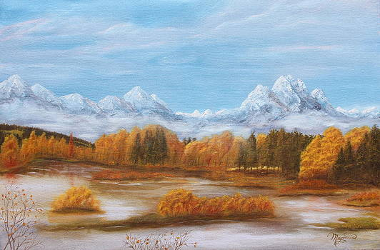 Tetons- arrayed in fall by Lou Magoncia