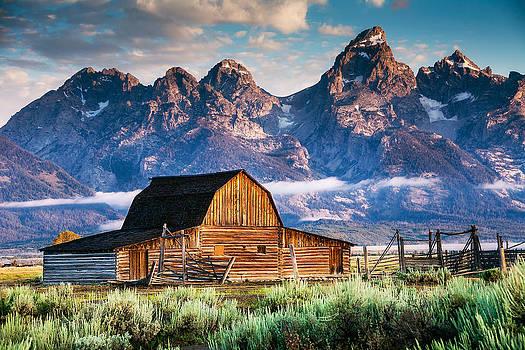 Tetons Loom Over Barn by Kirk Strickland