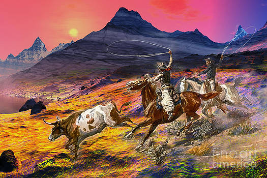 Texas Buckaroos Cowboys Digital Painting by Heinz G Mielke
