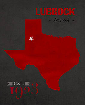 Design Turnpike - Texas Tech University Red Raiders Lubbock College Town State Map Poster Series No 109