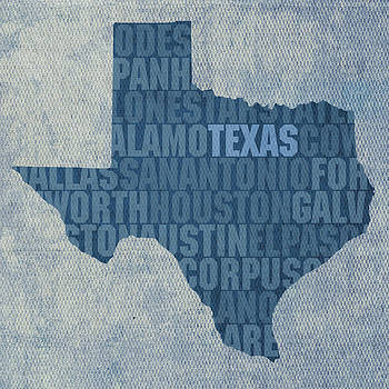 Design Turnpike - Texas Word Art State Map on Canvas
