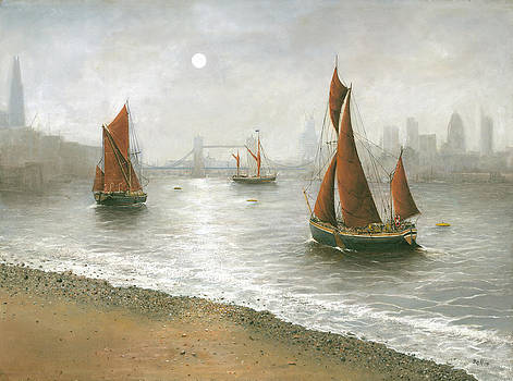 Thames Barges by Tower Bridge London by Eric Bellis