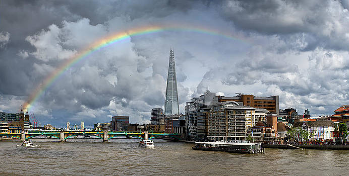 Gary Eason - Thames rainbow with Shard and Globe Theatre
