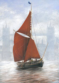 Thames Sailing Barge by Tower Bridge London by Eric Bellis
