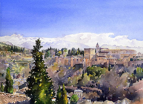 The Alhambra Palace from the Mirador San Nicolas by Margaret Merry