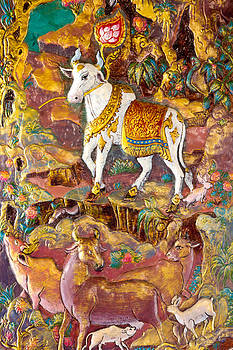 The Art thai painting on wall in temple  by Kobchai Sukruean