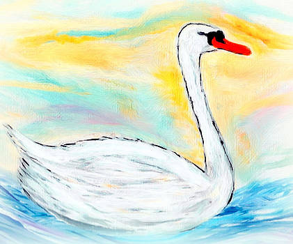The beautiful swan on the river by Cathy Turner