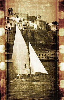 Pedro Cardona Llambias - Port Mahon and traditional boat called llaut in a vintage process - The boat and the city