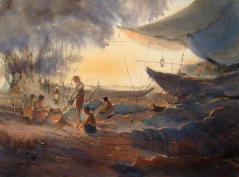 The Boats And Fishermen by Jiaur Rahman