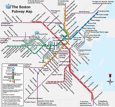 The Boston Pubway Map by Unquestionable Taste