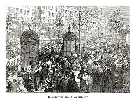 London Illustrated News - The Boulevards Paris - New Years Day