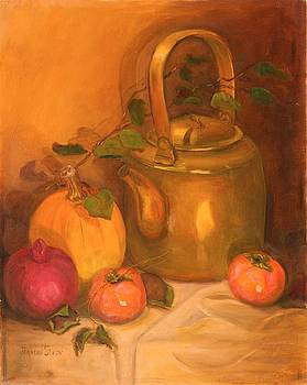 The Brass Kettle and Pumpkins by Jeanene Stein