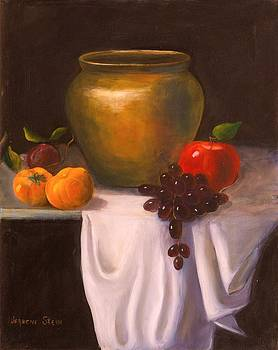 The Brass Pot and Fruit on White Cloth by Jeanene Stein