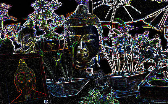 The Buddha on Flea Market in Miami - Neon Light by Jessica Gale